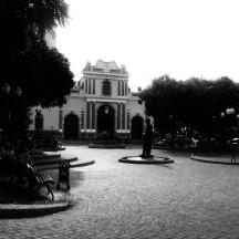 La plaza Bolívar del pueblo de Santa Rosa, donde nos tocó evangelizar.