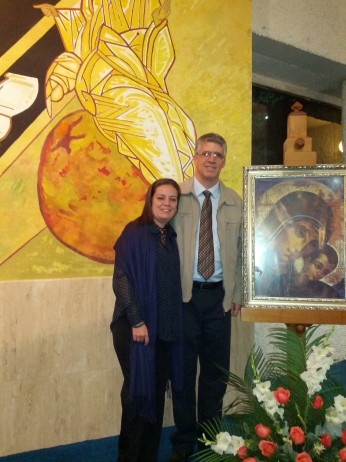 Con mi Paty, al terminar la eucaristía.